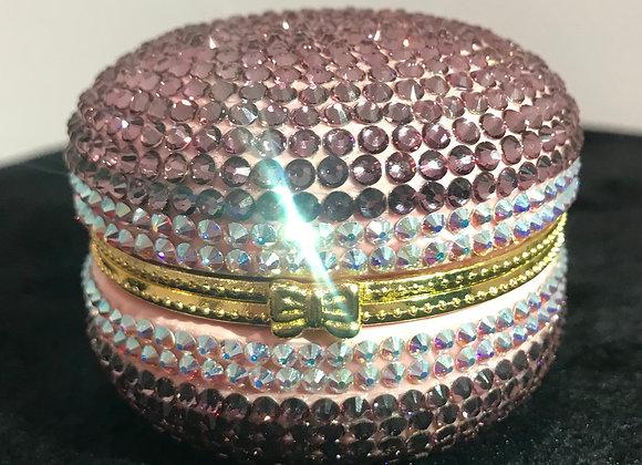 PILL CASE, Macaroon, Ceramic, Dark Pink/White, Swarovski Crystals
