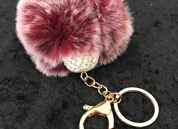 Keychain, Crystal Ball, Maroon, Faux Fur Pom