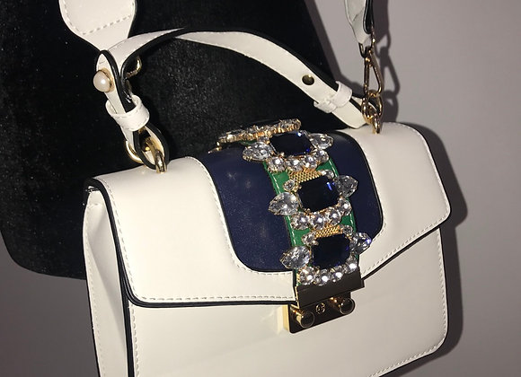 Purse, Gucci inspired, white/navy blue/green