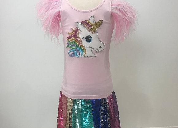 Rainbow Unicorn, H&M, S/S Shirt & Skirt Set, Swarovski Crystals,Ostrich Feathers