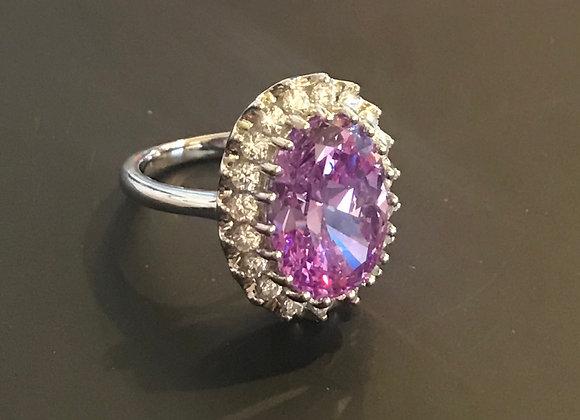 Ring, Moissanite Gemstone, Purple Large  Oval
