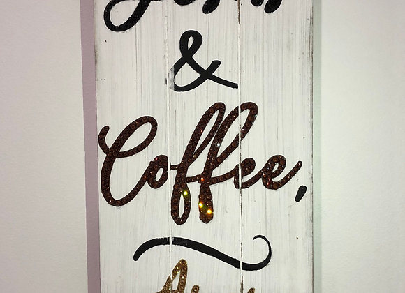 """Jesus & Coffee..Amen"" Wall Art, Wood, Swarovski Crystals"