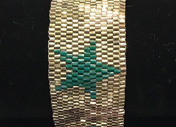 Bracelet, Beaded Cuff, Star, Silver/Green, Tassle
