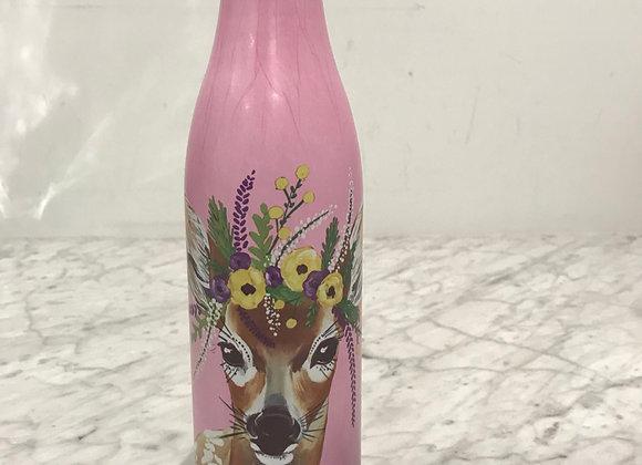 Pink Deer, Coated Stainless Steel Water Bottle, Swarovski Crystals