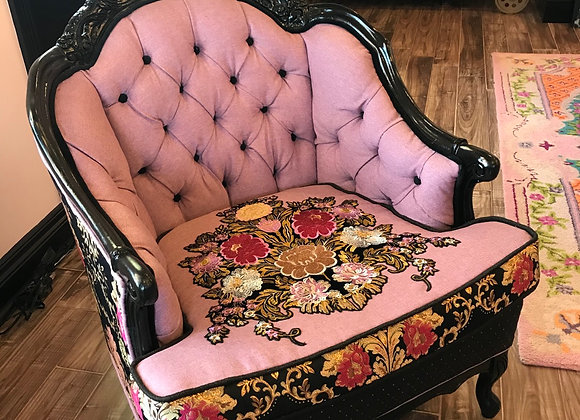 "Antique ""Lavender Applique"" Chair, Low Back, Black"