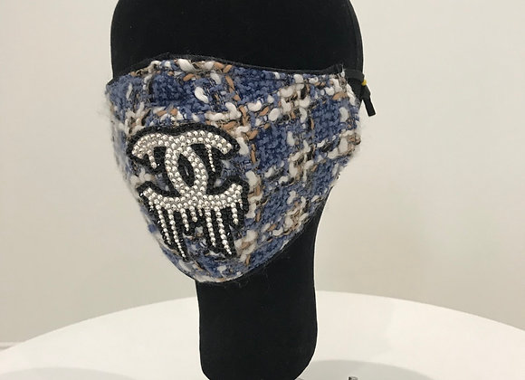CHANEL Tweed Blue/Gold/White, Swarovski Crystals, GLAMical face mask
