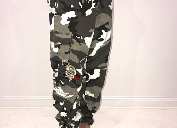 Ladies GLAMO Pants, Black/Grey Cargo, SKULLS, GUN, ROSES, CROWN, LIGHTENING BOLT
