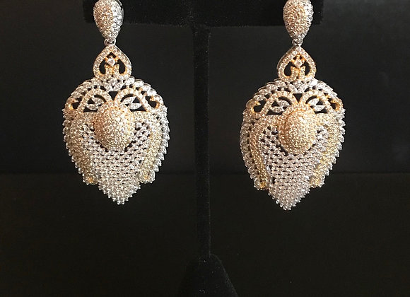 Earrings, Pierced, Dangle Mesh Harp, Sterling Silver, Cubic Zirconia