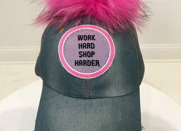 """Work Hard Shop Harder"" Faded Distressed Denim Baseball Hat"