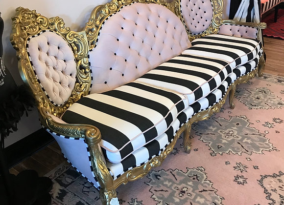 "Antique ""Cotton Candy"" Couch, High Back, Gold, Velvet"