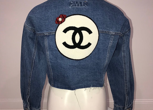 CHANEL, L/S Crop Blue Denim Jacket, Chenille logo