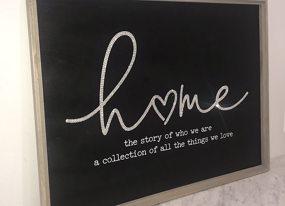 """""""Home, The Story Of Who We Are.. """" Wall Art Swarovski Crystal"""