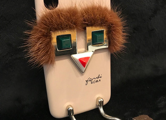CELL PHONE CASE, Fendi, Beige, Brown Fur, Dangling Legs, iphone X
