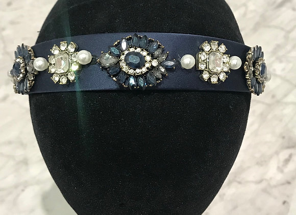 Headband, Blue Satin, Baroque Jewels, Crystals, Pearls