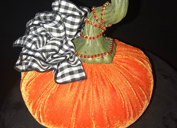 Pumpkin, Orange, Bow, orange rhinestone trim