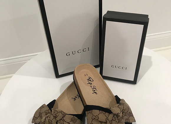 Pep Step, Memory Foam Slides Sandal, Gucci Detail, Lt Brown Brocade, Bow