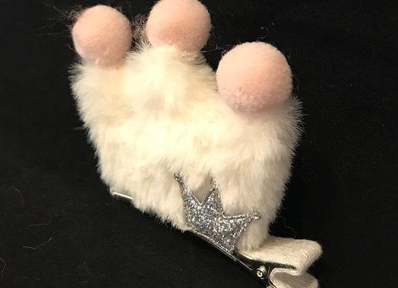 Hair Clip, Crown, White Faux Fur Puff, Pom