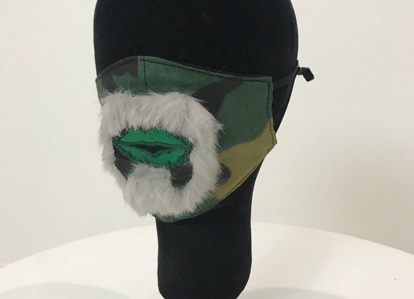 Goatee, Green Lips, Camoflauge-Green Woodland, GLAMical face mask