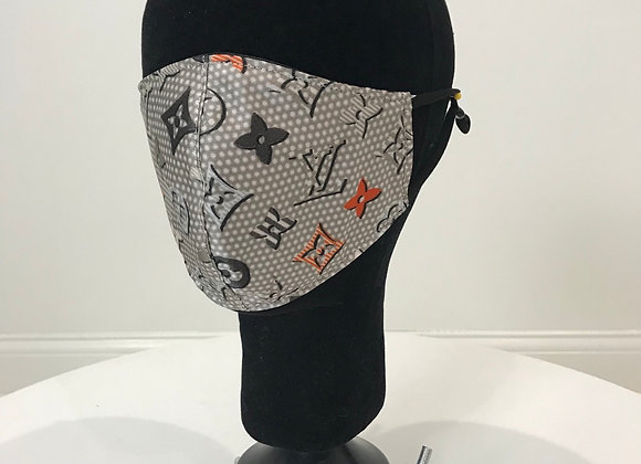 LOUIS VUITTON, Silk, Gray Polka Dot, GLAMical face mask