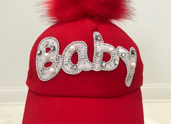 BABY, Red Baseball Hat, Pearls & Crystals, Red Faux Fur Pom