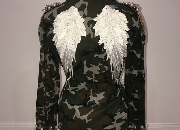 Ladies Green Camo Jacket, Angel Wings, Swarovski Crystals