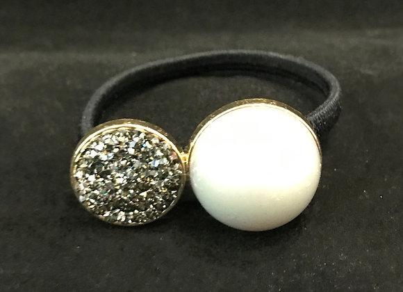 Hair Band, Elastic, Circle Gray Crystals, White Pearl