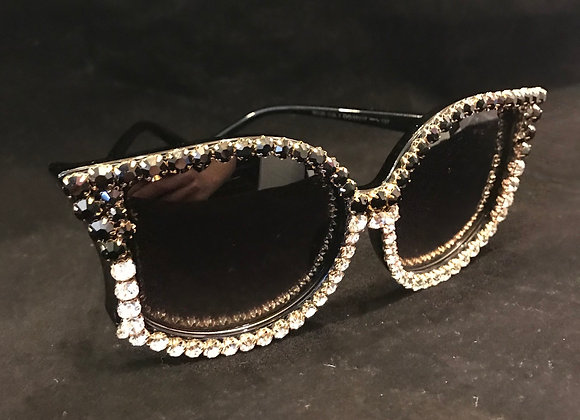 Sunglasses, Black Frame, Black/Clear Crystals