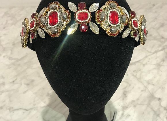 Headband, Black Velvet, Baroque Jewels, Crystals, Rhinestones, Red