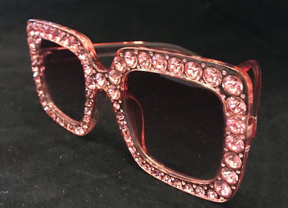 Sunglasses, Pink Frame, Lt. Pink Crystals