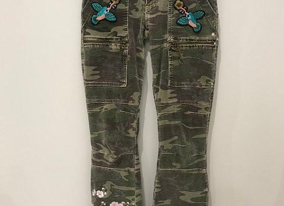 Corduroy Jeans, SHARANGARO, Faded Army Green Camo, Swarovski Crystals
