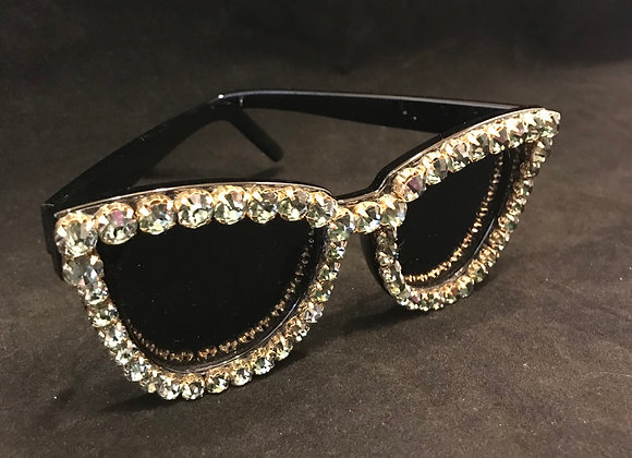 Sunglasses, Black Frame, Green Crystals