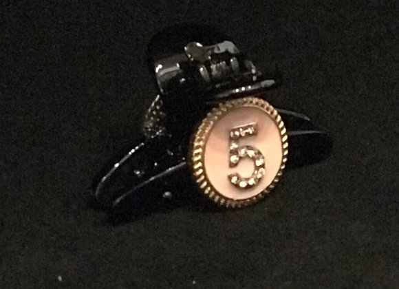 Hair Claw, Black Plastic, Chanel No. 5 Pink, Crystals