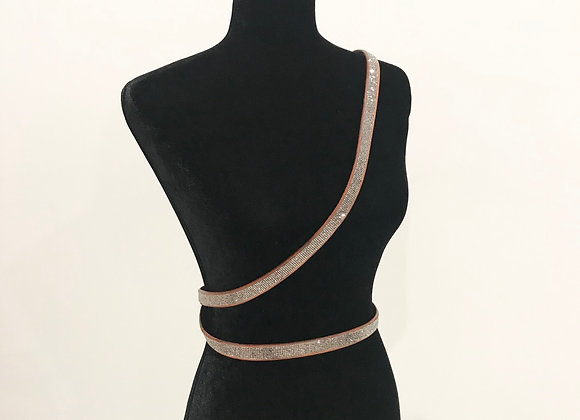 Leather Belt, Double Wrap Cross Body,  Lt. Brown, Swarovski Crystals