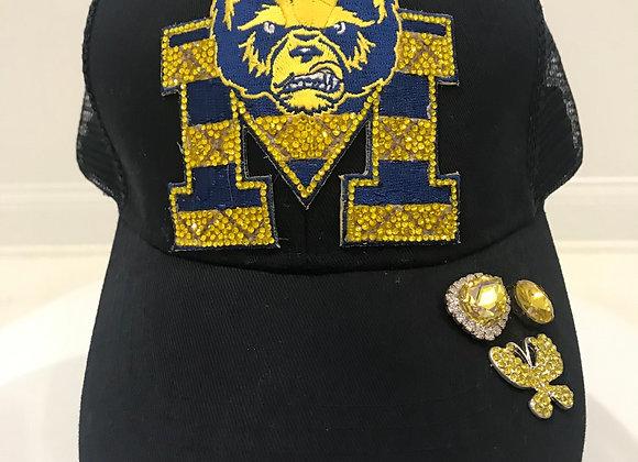 U of M Wolverines logo, Blue Twill, Baseball Hat, Swarovski Crystals