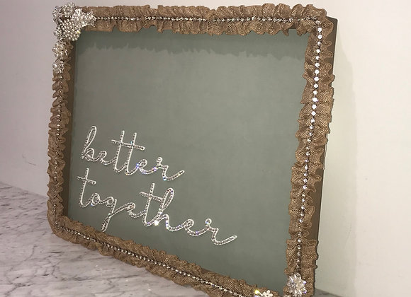 """Better Together"" Wall Art, Wood, Swarovski Crystals"