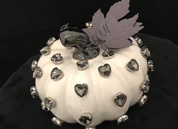 Pumpkin, White, grey chunky heart swarovski crystals
