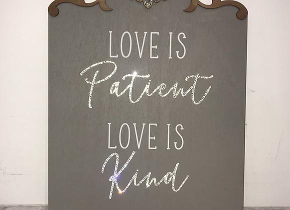 """Love Is Patient..Love Is Kind"" Wall Art Swarovski Crystal"