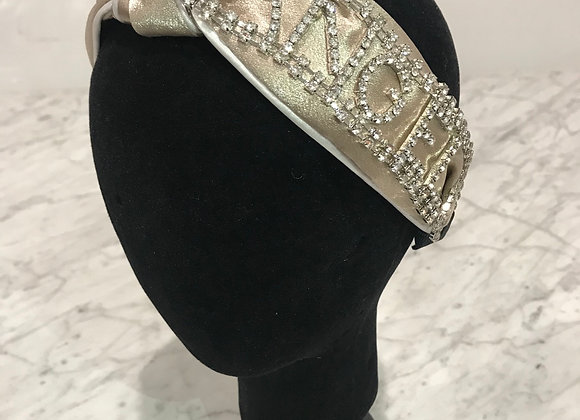Headband, Champagne Silk, Knot, Rhinestone applique - Angel