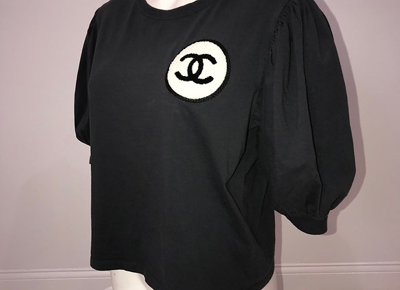CHANEL, Puff Sleeve, Crew Neck Shirt, Dark Gray