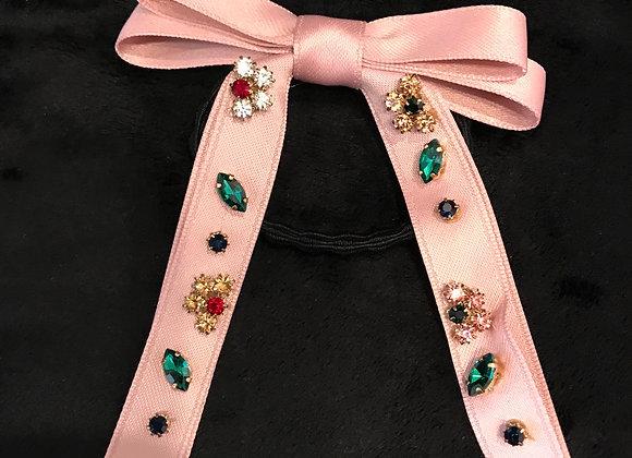 Hair Band, Elastic, Bow, Pink Satin Ribbon, Crystal Jewels
