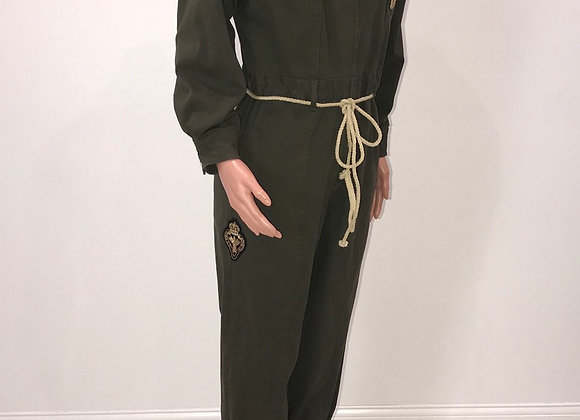 Army Green, jumpsuit, Indian silk hand embroidered patches