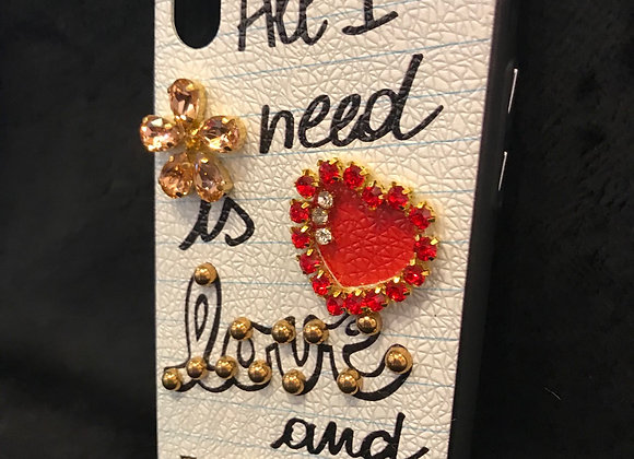 "CELL PHONE CASE, ""All I Need Is Love And Wi-Fi"", White Crackle, iphone X"