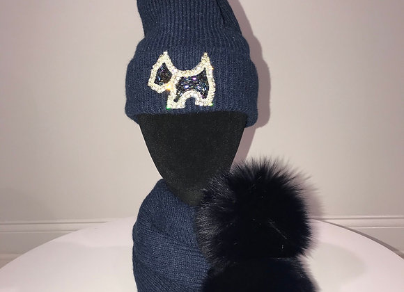 Winter Hat & Scarf Set, Blue, fox fur pom, SCOTTY DOG