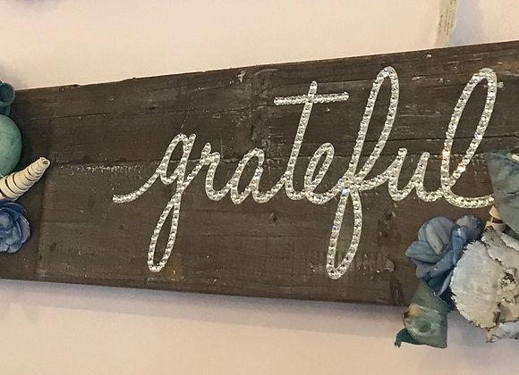 """Grateful"", Wood, Wall Art, Dried Flowers, Swarovski Crystals"