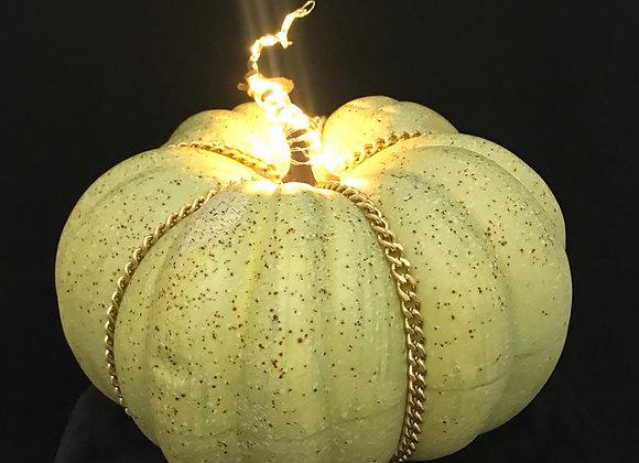 Pumpkin, Speckled Green, Gold Chain Trim, Lights