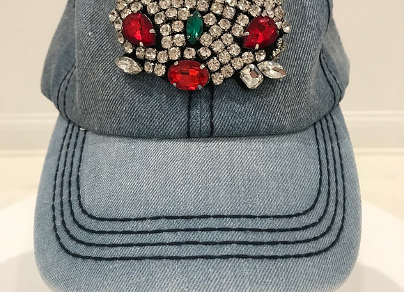 Baseball Hat, Blue Denim, Designer Cat, Swarovski Crystals