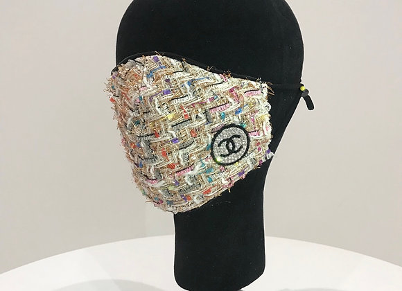 CHANEL, Creme Multi Color Tweed, 1(S) Round logo, Swarovski Crystals,face mask