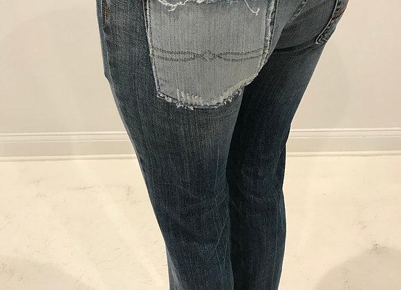 Denim Jeans, 7 FOR ALL MANKIND, Blue, Distressed Bottom & Pocket