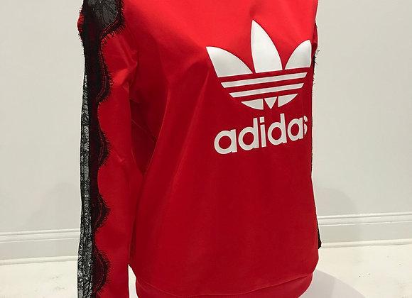 ADIDAS, L/S Red Satin, Black Lace Sweatshirt