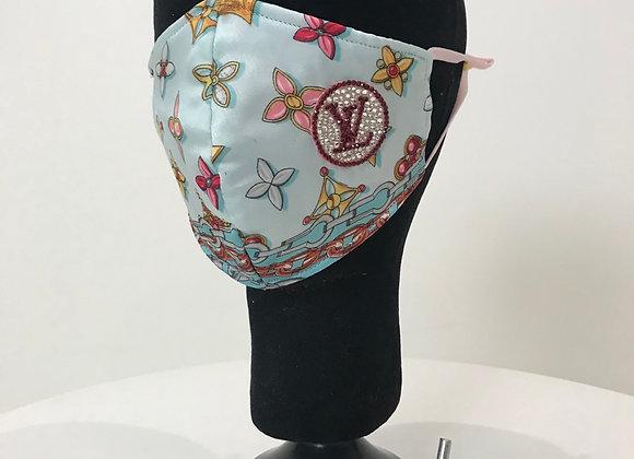 LOUIS VUITTON, Silk, Lt Blue pattern, Swarovski Crystals, GLAMical face mask